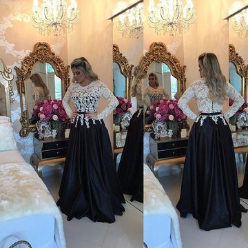Black A-line Round Neck Long Sleeves Zipper Lace Prom Dresses 2019
