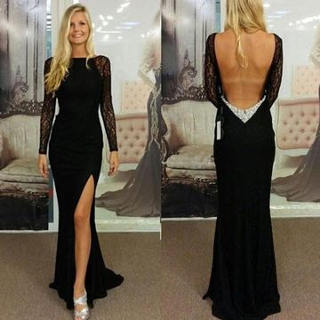 Black Sheath Long Sleeves Backless Split Front Prom Dresses 2019 Open Back