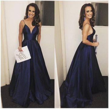 Long Sexy Blue A-line Spaghetti Straps Sleeveless Backless Split Front Prom Dresses 2019 Open Back