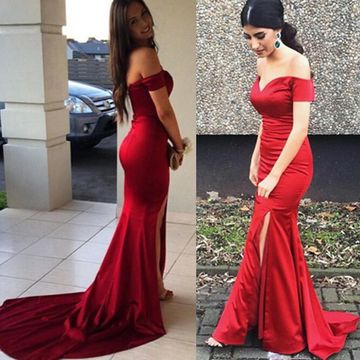 Long Simple Sexy Red Mermaid Zipper Split Front Prom Dresses 2019