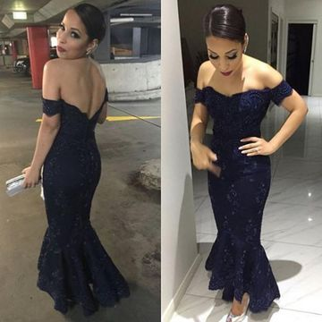Long Sexy Blue Mermaid Short Sleeves Backless Appliques Prom Dresses 2019 Open Back