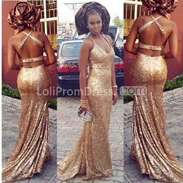 6bb47f98d5 49%OFF Long Sexy Gold Mermaid V-Neck Sleeveless Backless Sequins ...