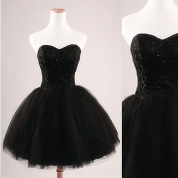c1d176eaf2e3 49%OFF Cute Black A-line Sweetheart Sleeveless Corset Sequins Prom ...