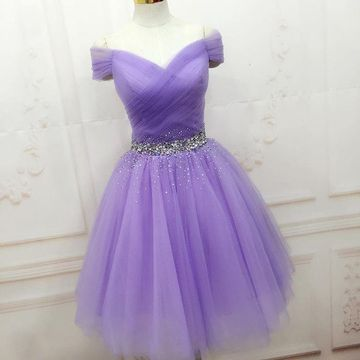 Cute Purple A-line Short Sleeves Beading Homecoming Prom Dresses 2019