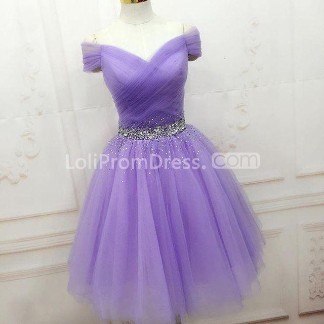 f005719047 49%OFF Cute Purple A-line Short Sleeves Beading Homecoming Prom ...