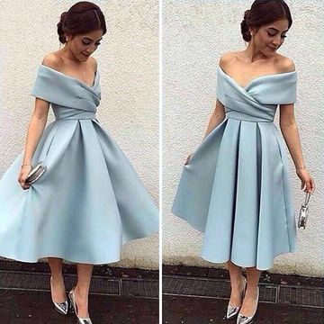 Blue Junior A-line Short Sleeves Pleats Prom Dresses 2019 Vintage