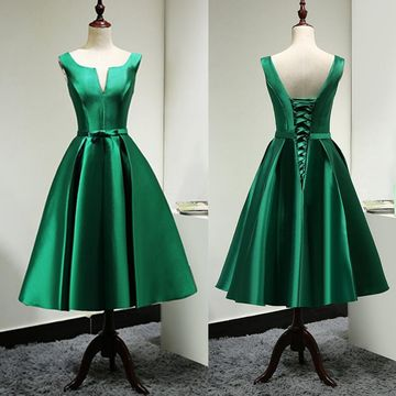 Simple Junior Green A-line Sleeveless Corset Homecoming Prom Dresses 2019 Vintage