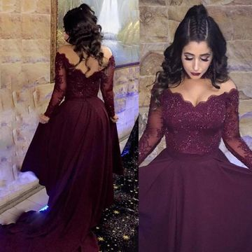 A-line V-Neck Long Sleeves Prom Dresses 2019 Lace