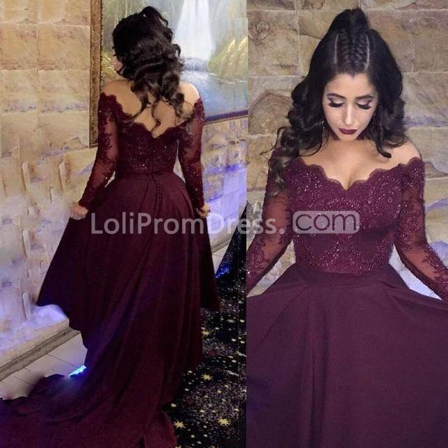 Simple Elegant Long Sleeve V Neck A Line Lace Top Satin: 49%OFF A-line V-Neck Long Sleeves Prom Dresses 2019 Lace