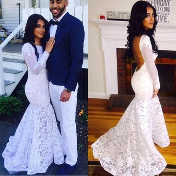Floral White Mermaid Long Sleeves Backless Prom Dresses 2019 Open Back Lace African
