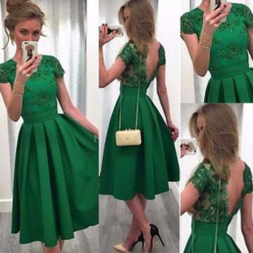 Cute Green A-line Short Sleeves Backless Appliques Homecoming Prom Dresses 2020 Open Back Vintage