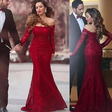 Red Mermaid Long Sleeves Prom Dresses 2019 Lace
