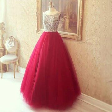 Long Floral Red Ball Gown Sleeveless Beading Prom Dresses 2019 Sexy