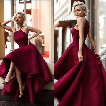 Long Sexy Red Ball Gown Halter Sleeveless Prom Dresses 2019