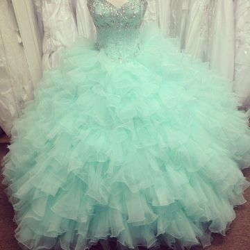 Long Green Ball Gown Sweetheart Sleeveless Beading Prom Dresses 2020