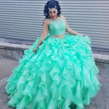 Long Green Ball Gown Sleeveless Beading Prom Dresses 2019 Two Piece