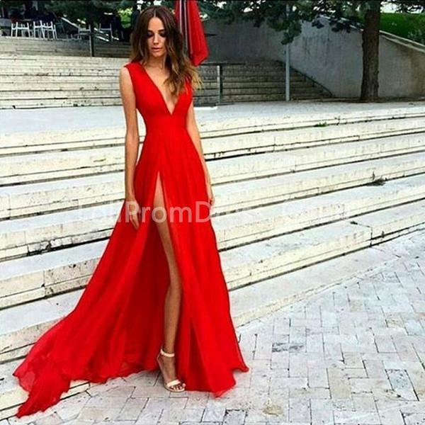 d0812422849 49%OFF Long Sexy Red A-line V-Neck Sleeveless Prom Dresses 2019 ...