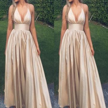 d711b69682b 49%OFF Long Simple Sexy A-line Halter Sleeveless Prom Dresses 2019 V ...