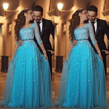 Blue A-line Round Neck Long Sleeves Appliques Prom Dresses 2019