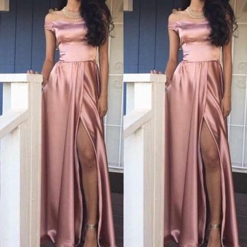 Long Pink Off the Shoulder Sexy A-line Prom Dresses 2020