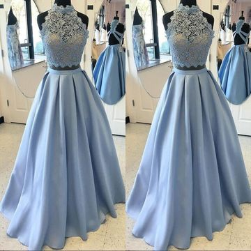 Long A-line High Neck Sleeveless Zipper Prom Dresses 2020 Lace Two Piece