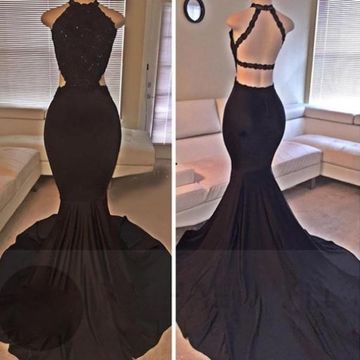 Long Sexy Black Mermaid Halter Sleeveless Backless Beading Prom Dresses 2019 Open Back