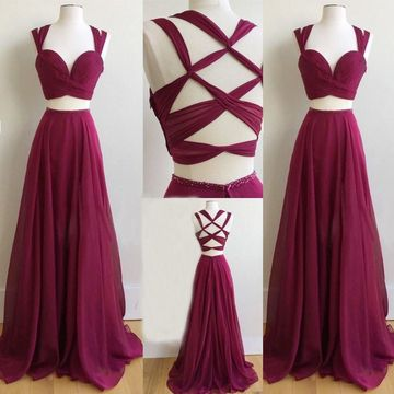 Long Sexy Red A-line Straps Prom Dresses 2019 Chiffon Two Piece