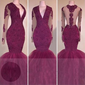 Sexy Burgundy Mermaid V-Neck Long Sleeves Zipper Appliques Prom Dresses 2019