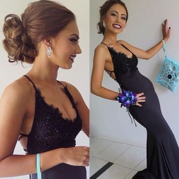 Long Sexy Blue Mermaid Spaghetti Straps Sleeveless Backless Beading Prom Dresses 2019 Open Back For Short Girls