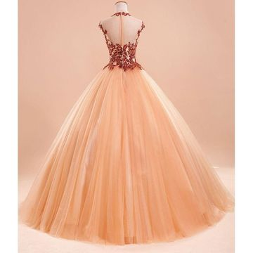 662866e58 49%OFF Long Ball Gown Capped Sleeves Zipper Appliques Prom Dresses ...