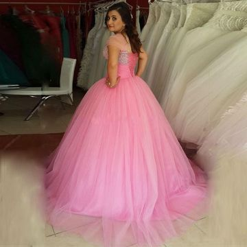 49%OFF Cute Pink Ball Gown Sweetheart Capped Sleeves Corset Beading ...