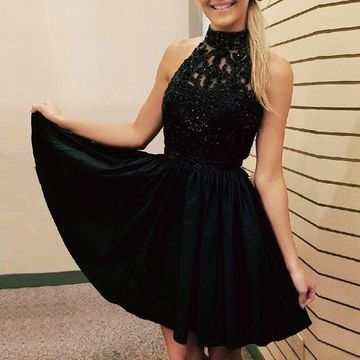 Black A-line Halter Sleeveless Zipper Beading Homecoming Prom Dresses 2019