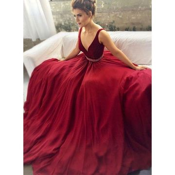 004302d3a506 49%OFF Burgundy Ball Gown Straps Sleeveless Zipper Beading Prom ...