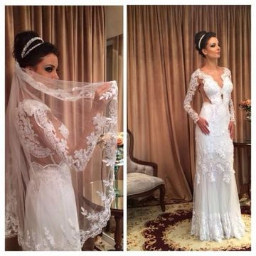 White Long Wedding Dresses 2020 Sheath Long Sleeves Lace Sexy For Short Girls