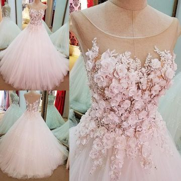 Pink Long Wedding Dresses 2019 A-line For Short Girls