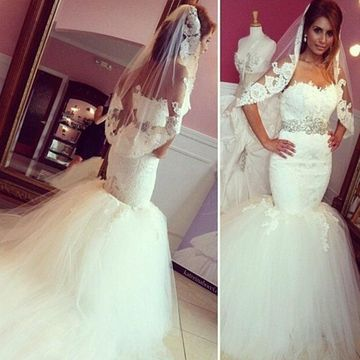 White Long Wedding Dresses 2019 Mermaid Sleeveless