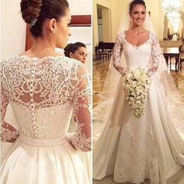 White Long Wedding Dresses 2019 A-line Long Sleeves Lace
