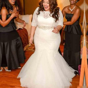 Ivory Long Wedding Dresses 2020 Mermaid Plus Size