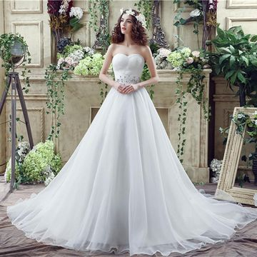 White Long Wedding Dresses 2019 A-line Sleeveless Chiffon For Short Girls
