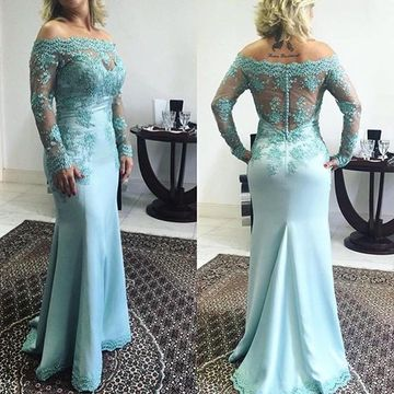 Long Mother of Bride Dresses 2020 Mermaid Long Sleeves