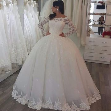 White Long Wedding Dresses 2020 Ball Gown Long Sleeves Lace For Short Girls