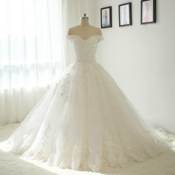 White Long Wedding Dresses 2019 Ball Gown Lace