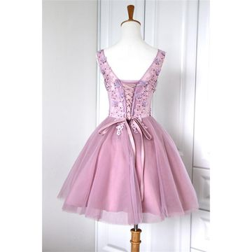 49off cute pink aline straps sleeveless corset appliques