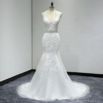 White Long Wedding Dresses 2019 Mermaid Halter Sleeveless Lace Sexy