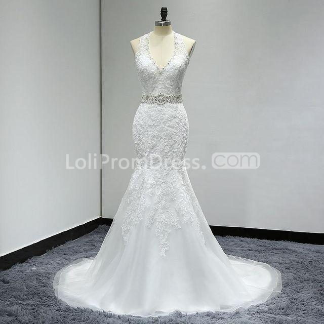 Jieruize White Simple Backless Wedding Dresses 2019 Ball: 49%OFF White Long Wedding Dresses 2019 Mermaid Halter