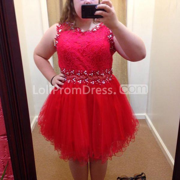 latest style shop best sellers top-rated official 49%OFF Plus Size Cute Red A-line Sleeveless Zipper Crystal ...