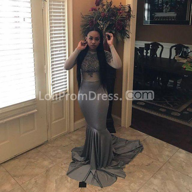 49 Off Grey Long Prom Dresses 2019 Mermaid Long Sleeves