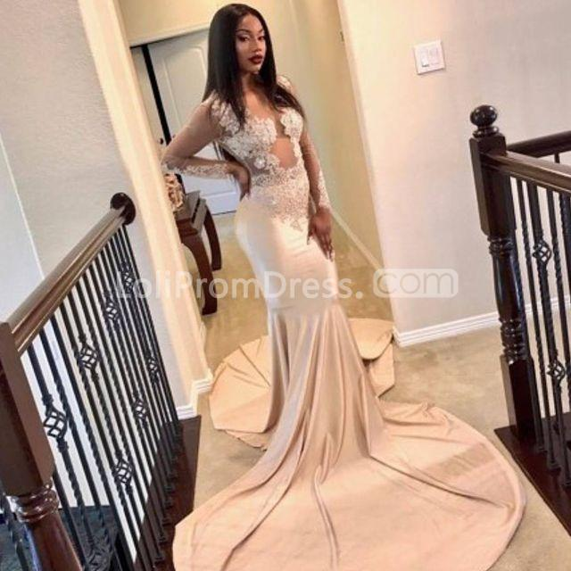 49 Off Beige Champagne Long Prom Dresses 2019 Mermaid Long