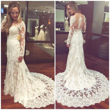 White Long Wedding Dresses 2019 Sheath Long Sleeves Lace Sexy For Short Girls