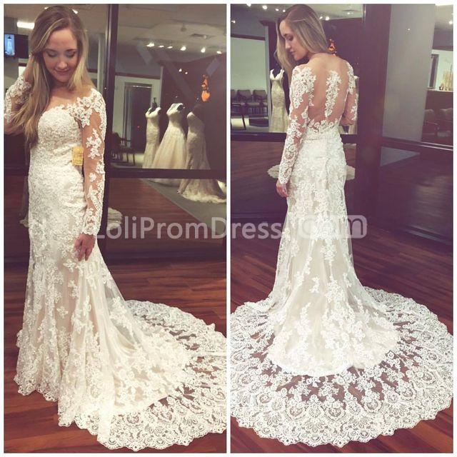49off White Long Wedding Dresses 2019 Sheath Long Sleeves Lace Sexy